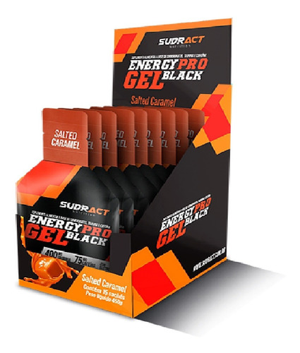Caixa Energy Pro Gel Black 15 Sachê De 30g Caramelo Sudract