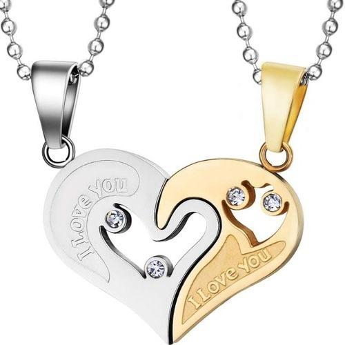 Colar De Casal Coração Duas Metades Aço Inox Alta Qualidade