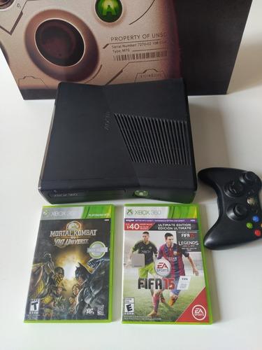Xbox 360 Slim + 2 Juegos Originales + Joystick + Fuente 220v