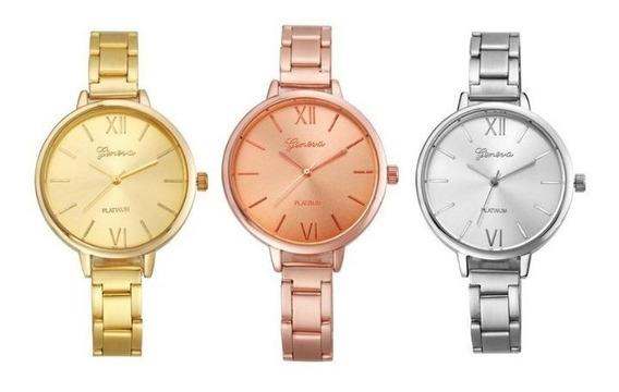 Reloj Dama Metálico Geneva Delgados Económicos Lote 5