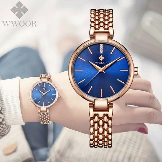 Relógio Feminino Luxo Wwoor Dourado Aço Inox Barato