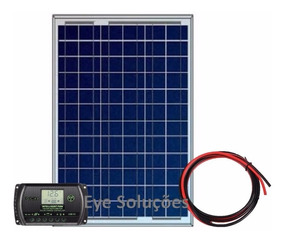 Kit Painel Placa Solar 50w + Controlador Regulador + Cabos