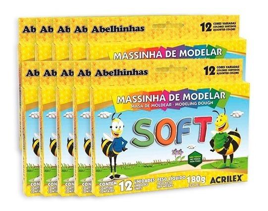 Massinha Masa De Modelar Soft - 10 Caixas Com 12 Und Em Cada