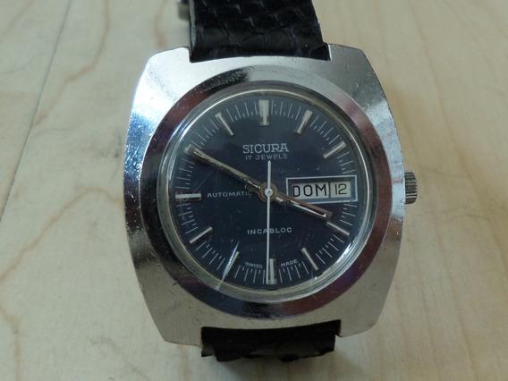 Reloj Vintage Sicura By Breitling Automático Carátula Azul