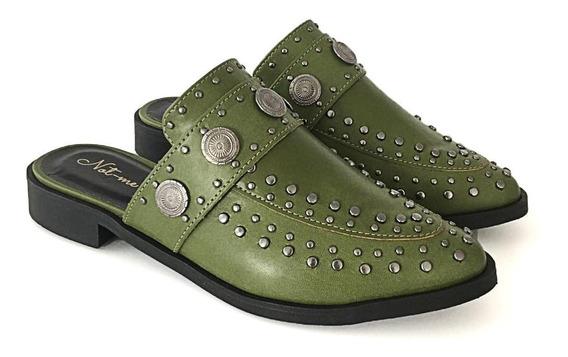 Sapato Mule Casual Tachas Verniz Feminino Not-me