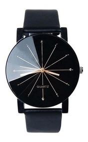 Relógio Feminino De Pulso Preto Casual Pulseira Couro Maior