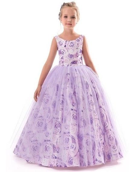 Vestido Elegante De Rosas Color Lila/floreado