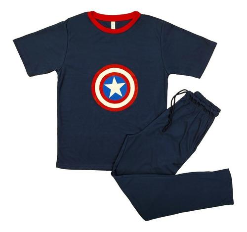 Pijama Algodón Hombre Pantalón Largo Manga Corta Superhéroes