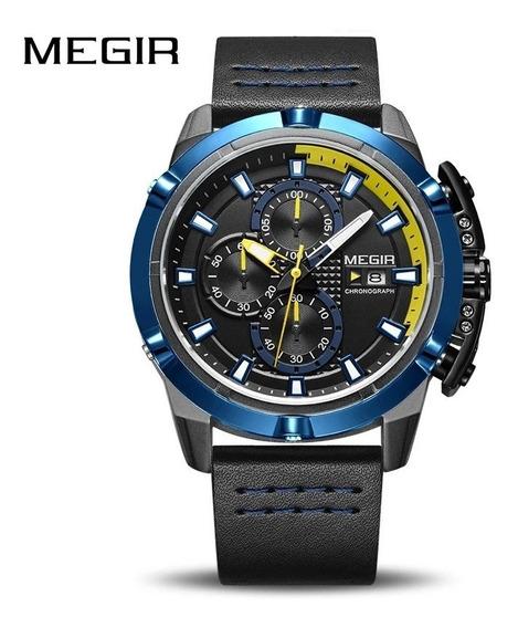 Relógio Megir 2062 Original 30 Metros Inox Couro Legitimo