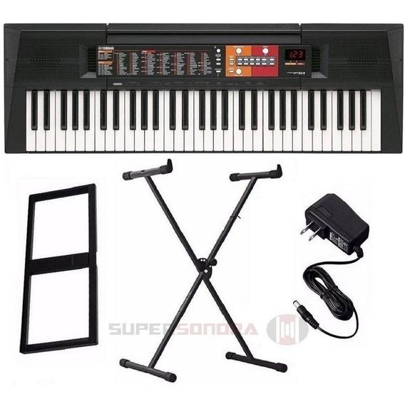 Kit Teclado Yamaha Musical Psr F51 + Suporte X + Fonte