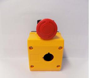 Botoeira Amarela 1 Furo + Botão Emergência C/trava Metaltex