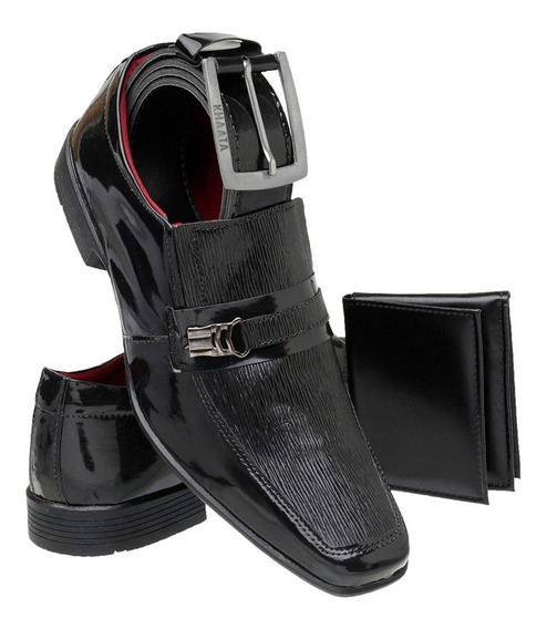 Sapato Masculino Social Verniz Kit Cinto + Carteira Khaata