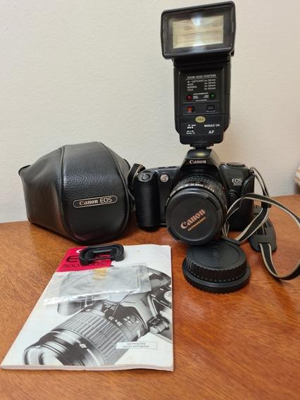 Canon Eos 500 Analógica + Flash + Assessórios