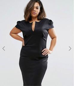 Vestido Formal, Negro Plus Size (48)