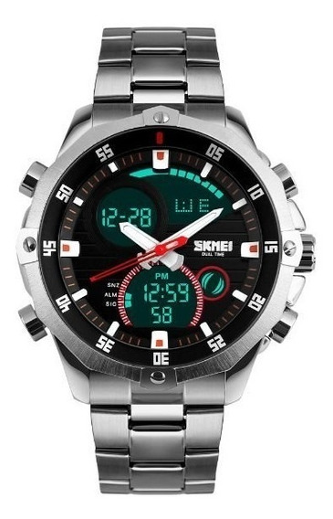 Relógio Masculino Skmei Esportivo Prata Analógico E Digital