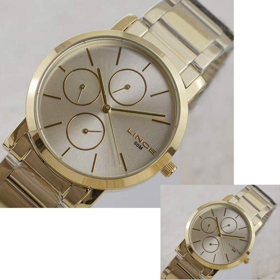 Relógio Feminino Lince Dourado Multifunção Lmg4568l C1kx