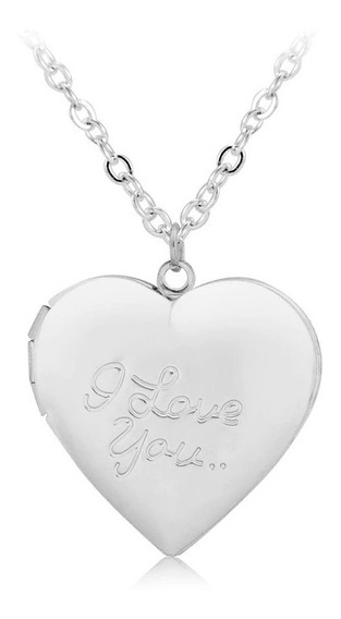 Colar Relicário Namorados Love Amor - Colar Porta Foto