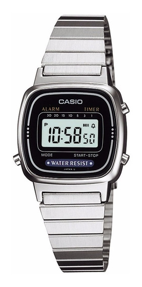 Relógio Casio Feminino Digital Original Prata Pequeno La670wd-1df Retro