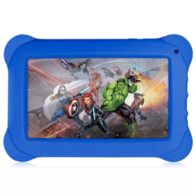 Tablet Kid Pad Vingadores Infantil Azul C/ Case Emborrachado