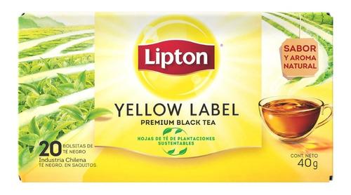 Imagen 1 de 2 de Té Negro Lipton Yellow Caja 20 Saquitos Importado X 5 Uni.