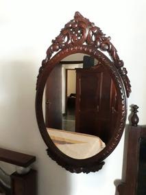 f64bf9ed5 Espelho Antigo Rico Entalhe Em Madeira (bl Antiguidades)