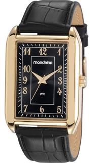Relógio Masculino Mondaine Dourado Quadrado Pulseira Couro