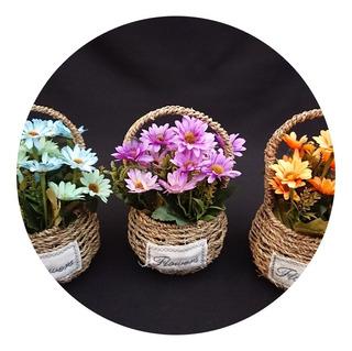 Plantas Artificiales Flores Decorativas Canasta