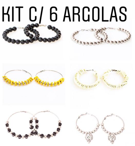 Kit Com 6 Argolas - Kt60 // 3,60 Cada Argola Bijuteria