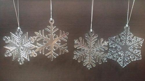 Imagen 1 de 5 de 12 Esferas Navideñas Acrilico Cristal Copo De Nieve Esfera