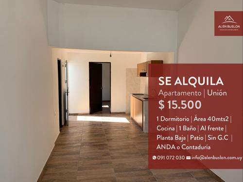 Apartamento Alquiler 1 Dormitorio Unión Al Frente Con Patio