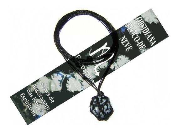 Colar Hippie Obsidiana Flocos De Neve Pedra Signo Escorpião