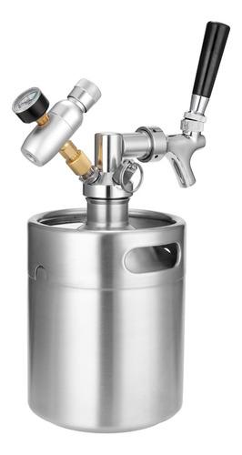 Imagen 1 de 9 de 2l Mini Barril De Cerveza De Acero Inoxidable Con Grifo Pres