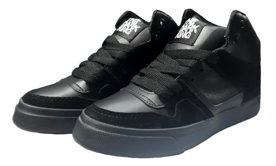 Zapatilla Bota Negra Suela Negra Cuero/gamuza The Dark King