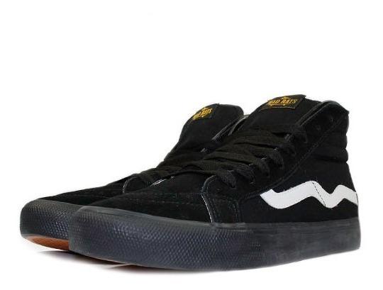 Tênis Mad Rats Hi Top Todo Preto Onda Branca Original Skate