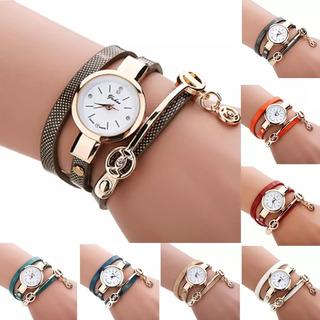 Relógio Bracelete Feminino 3 Voltas Pulseira De Couro