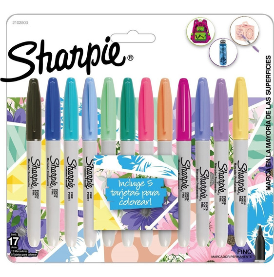 Marcadores Sharpie Fino X12 Tropical Colores Pastel