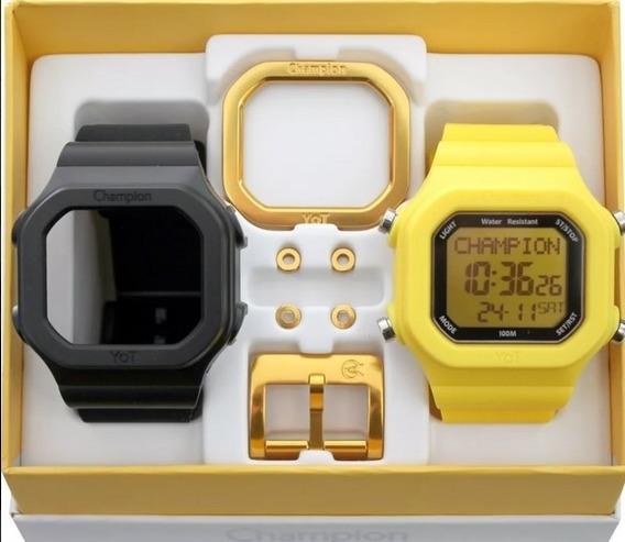 Relógio Champion Yot Original Cp40180x Nf Preto Amarelo