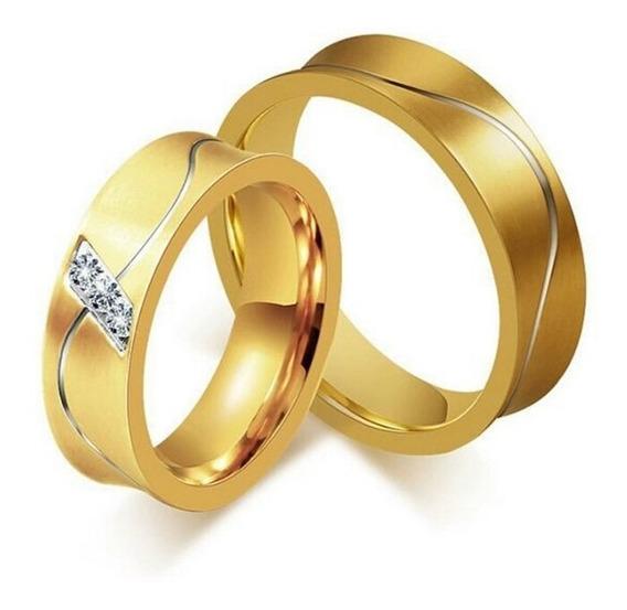 Alianças Casamento Noivado Namoro Aço Inox Banhada Ouro Par
