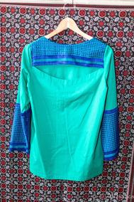 Bata Verde Com Renda Azul