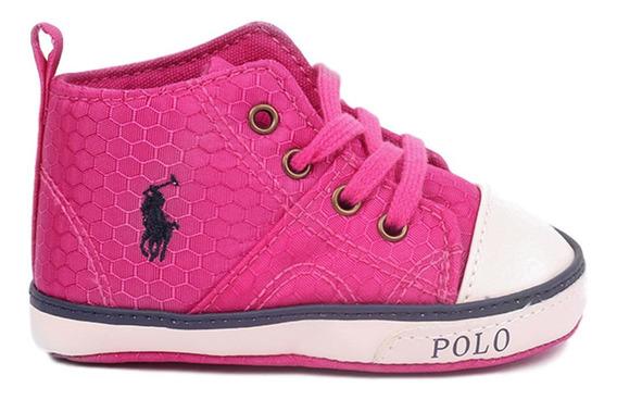 Tenis Polo Ralph Lauren Tipo Bota Para Bebé Color Rosa Ultra