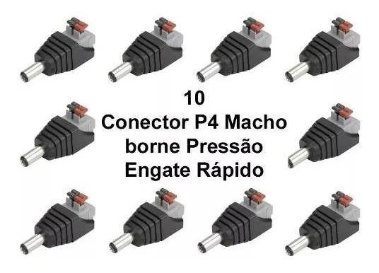 Kit Com 10 Unidades De Plug P4 Macho Engate Rápido