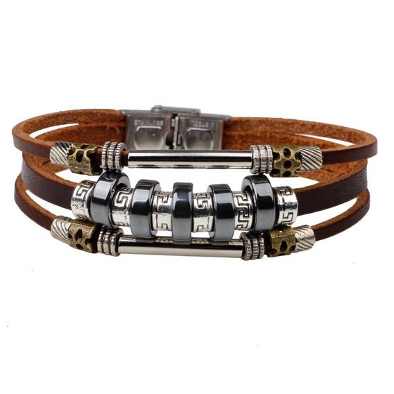 Pulseira Bracelete Couro Metal Regulável Vários Modelos