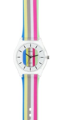 Reloj De Mujer Extra Liviano Status Rayado S23g
