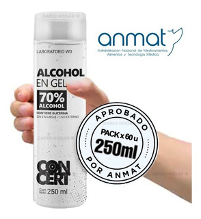 Alcohol En Gel 250ml X Pack 60 Unidades - Aprobado Anmat