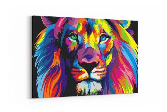 Cuadro Decorativo Canvas 90x60 Cm Mate Leones