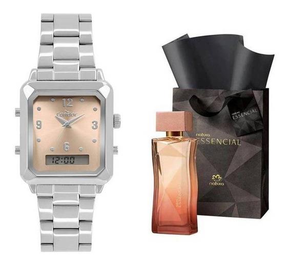 Kit Relógio Condor Feminino + Perfume Essencial Feminino