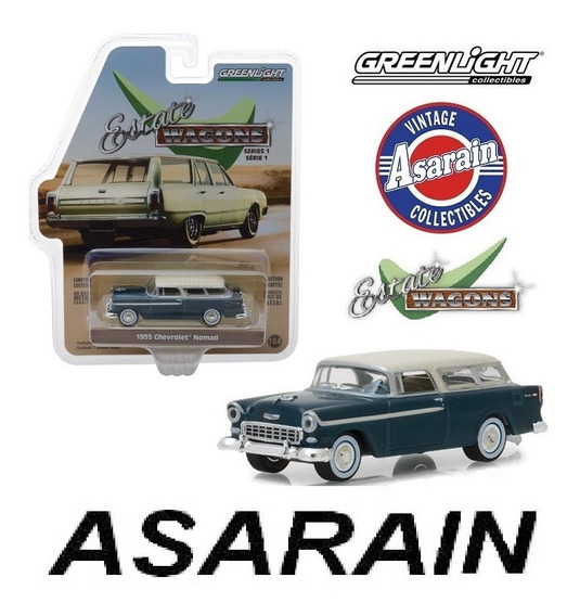 Chevrolet Nomad 1955 Azul Estate Wagons Greenlight 1/64