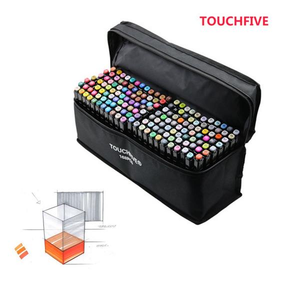 Marcadores Touch Five Kit De 168 Colores Común Negro