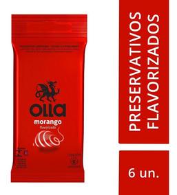 Olla Preservativo Camisinha Sabor Morango 6 Unidades