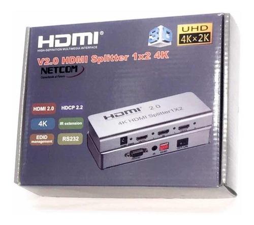 Splitter Hdmi 2.0 De 1x2 Netcom Aluminio Ultra Full Hd 3d 4k